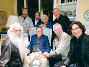 (Left to right, front row: William Lee Golden, President George H.W. Bush, Joe Bonsall & Richard Sterban.  Second row: Duane Allen, Darrick Kinslow, Barbara Bush & Darrell Bowling.)