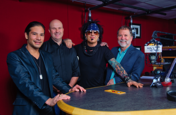 Pictured (left to right): SESAC's Glen Phillips and Sam Kling, Sixx and SESAC's Dennis Lord.    Photo: Kevin Estrada
