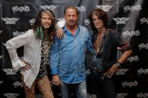 David Mobley with Steven Tyler and Joe Perry of Aerosmith