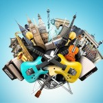 Music collage, musical instruments and world landmarks
